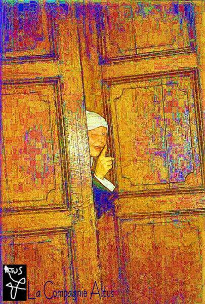 Affiche de Mensonges à Comtesse, extrait du Tartuffe de Molière par La Compagnie Altus [2002] (Conception graphique de Didier Desmet Photo originale de inconnu Modèle Carmelo Carpenito) [Artiste Infirme Moteur Cérébral] [Infirmité Motrice Cérébrale] [IMC] [Paralysie Cérébrale] [Cerebral Palsy] [Handicap]