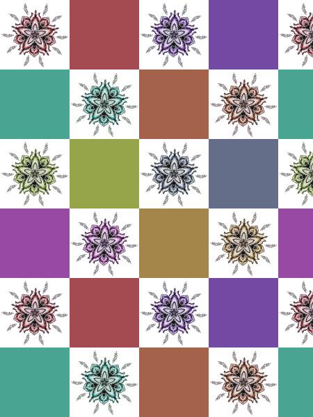 Ancolies [2012] (Création et conception graphique de Didier Desmet) [Motif] [Pattern] [Motifs] [Patterns] [Artiste Infirme Moteur Cérébral] [Infirmité Motrice Cérébrale] [IMC] [Paralysie Cérébrale] [Cerebral Palsy] [Handicap]