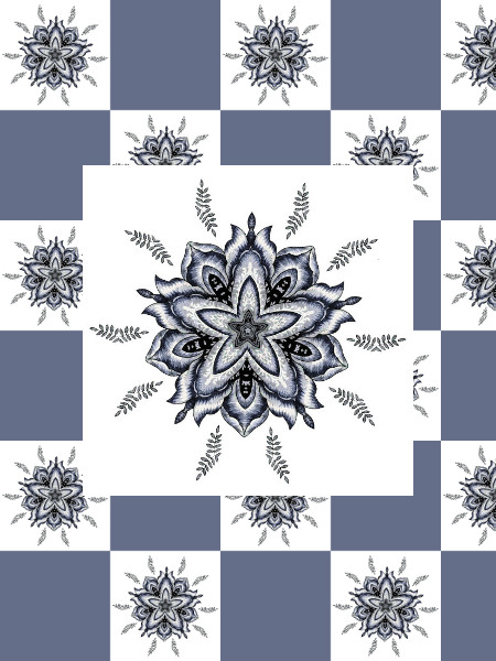Ancolies (Bleu) [2012] (Création et conception graphique de Didier Desmet) [Motif] [Pattern] [Motifs] [Patterns] [Artiste Infirme Moteur Cérébral] [Infirmité Motrice Cérébrale] [IMC] [Paralysie Cérébrale] [Cerebral Palsy] [Handicap]