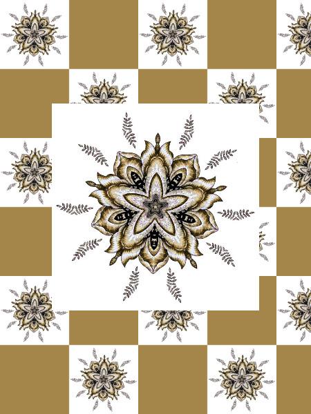 Ancolies (Jaune) [2012] (Création et conception graphique de Didier Desmet) [Motif] [Pattern] [Motifs] [Patterns] [Artiste Infirme Moteur Cérébral] [Infirmité Motrice Cérébrale] [IMC] [Paralysie Cérébrale] [Cerebral Palsy] [Handicap]