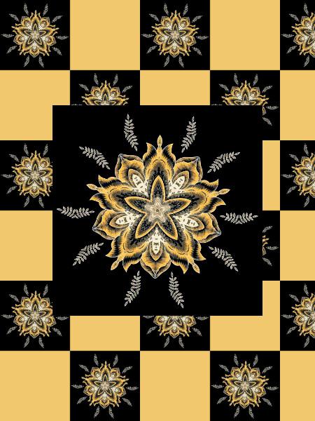 Ancolies (Or) [2012] (Création et conception graphique de Didier Desmet) [Motif] [Pattern] [Motifs] [Patterns] [Artiste Infirme Moteur Cérébral] [Infirmité Motrice Cérébrale] [IMC] [Paralysie Cérébrale] [Cerebral Palsy] [Handicap]