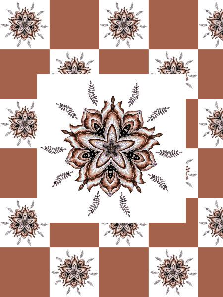 Ancolies (Orange) [2012] (Création et conception graphique de Didier Desmet) [Motif] [Pattern] [Motifs] [Patterns] [Artiste Infirme Moteur Cérébral] [Infirmité Motrice Cérébrale] [IMC] [Paralysie Cérébrale] [Cerebral Palsy] [Handicap]