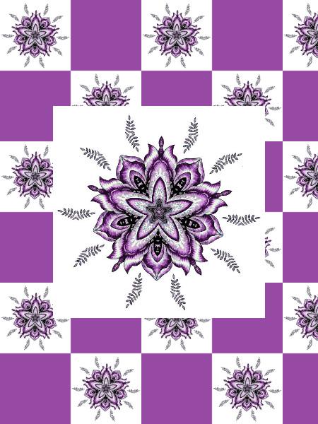 Ancolies (Rose) [2012] (Création et conception graphique de Didier Desmet) [Motif] [Pattern] [Motifs] [Patterns] [Artiste Infirme Moteur Cérébral] [Infirmité Motrice Cérébrale] [IMC] [Paralysie Cérébrale] [Cerebral Palsy] [Handicap]