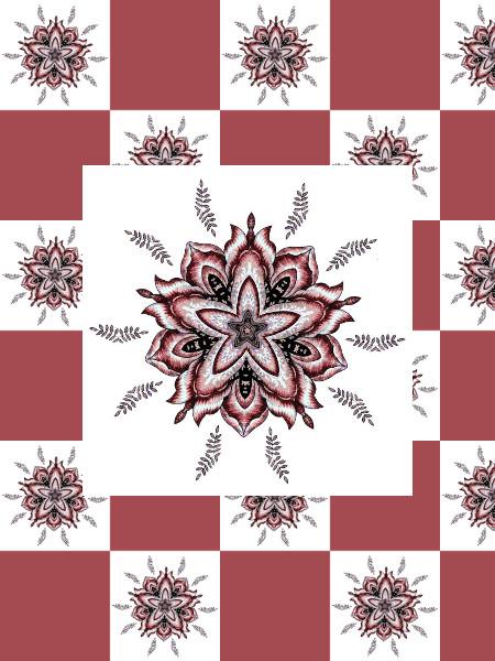 Ancolies (Rouge) [2012] (Création et conception graphique de Didier Desmet) [Motif] [Pattern] [Motifs] [Patterns] [Artiste Infirme Moteur Cérébral] [Infirmité Motrice Cérébrale] [IMC] [Paralysie Cérébrale] [Cerebral Palsy] [Handicap]