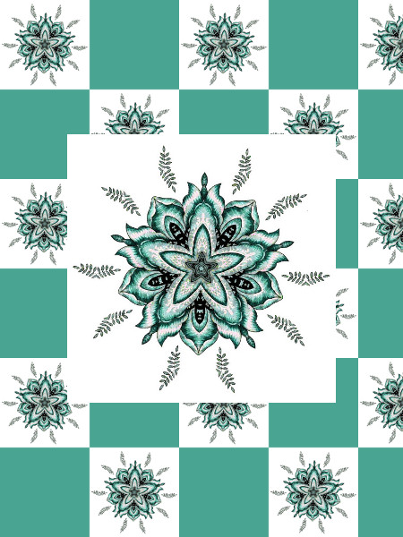 Ancolies (Turquoise) [2012] (Création et conception graphique de Didier Desmet) [Motif] [Pattern] [Motifs] [Patterns] [Artiste Infirme Moteur Cérébral] [Infirmité Motrice Cérébrale] [IMC] [Paralysie Cérébrale] [Cerebral Palsy] [Handicap]