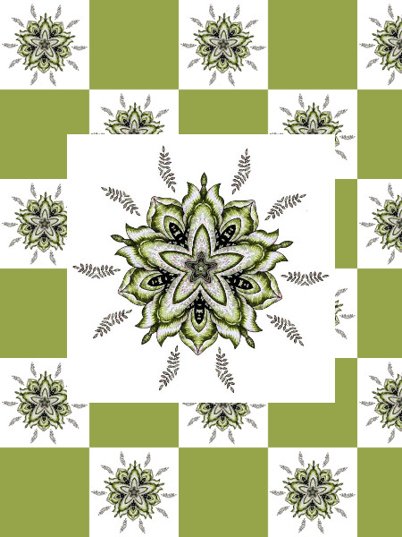 Ancolies (Vert) [2012] (Création et conception graphique de Didier Desmet) [Motif] [Pattern] [Motifs] [Patterns] [Artiste Infirme Moteur Cérébral] [Infirmité Motrice Cérébrale] [IMC] [Paralysie Cérébrale] [Cerebral Palsy] [Handicap]