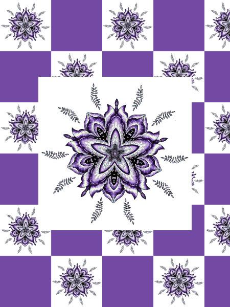 Ancolies (Violet) [2012] (Création et conception graphique de Didier Desmet) [Motif] [Pattern] [Motifs] [Patterns] [Artiste Infirme Moteur Cérébral] [Infirmité Motrice Cérébrale] [IMC] [Paralysie Cérébrale] [Cerebral Palsy] [Handicap]