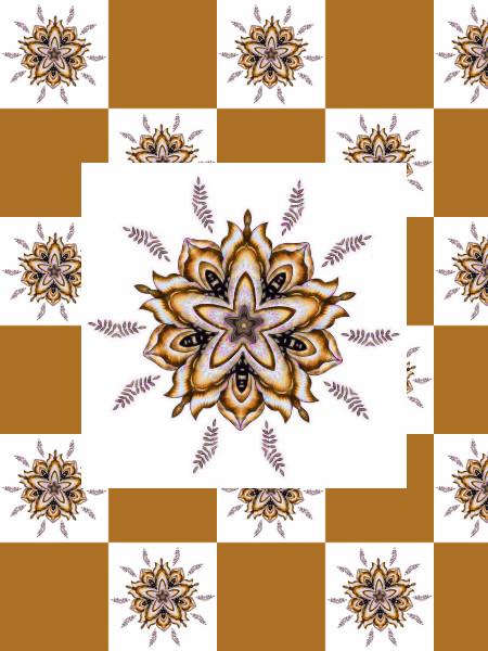 Ancolies, mélancolies (Jaune) [2012] (Création et conception graphique de Didier Desmet) [Motif] [Pattern] [Motifs] [Patterns] [Artiste Infirme Moteur Cérébral] [Infirmité Motrice Cérébrale] [IMC] [Paralysie Cérébrale] [Cerebral Palsy] [Handicap]