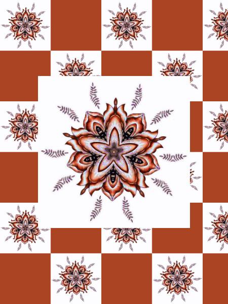 Ancolies, mélancolies (Orange) [2012] (Création et conception graphique de Didier Desmet) [Motif] [Pattern] [Motifs] [Patterns] [Artiste Infirme Moteur Cérébral] [Infirmité Motrice Cérébrale] [IMC] [Paralysie Cérébrale] [Cerebral Palsy] [Handicap]