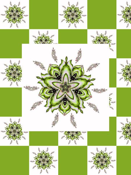 Ancolies, mélancolies (Vert) [2012] (Création et conception graphique de Didier Desmet) [Motif] [Pattern] [Motifs] [Patterns] [Artiste Infirme Moteur Cérébral] [Infirmité Motrice Cérébrale] [IMC] [Paralysie Cérébrale] [Cerebral Palsy] [Handicap]