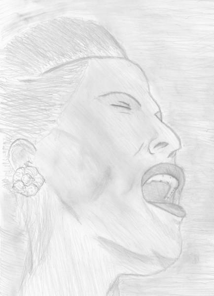 Billie Holiday (d`après un portrait de William P. Gottlieb - Magazine Down Beat [1947]) [2016] (Dessin de Didier Desmet) [Artiste Infirme Moteur Cérébral] [Infirmité Motrice Cérébrale] [IMC] [Paralysie Cérébrale] [Cerebral Palsy] [Handicap]