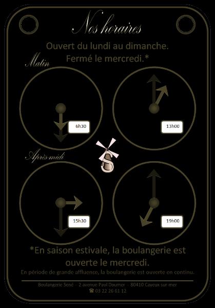 Boulangerie Sené Cayeux-sur-mer Plaque horaires [2011-2016] (Conception graphique de Didier Desmet) [Artiste Infirme Moteur Cérébral] [Infirmité Motrice Cérébrale] [IMC] [Paralysie Cérébrale] [Cerebral Palsy] [Handicap]