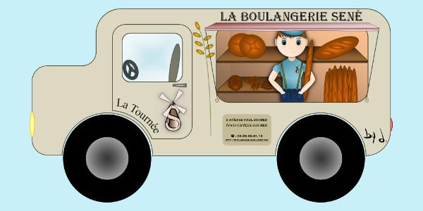 Boulangerie Sené Camion des tournées [2015] (Conception graphique de Didier Desmet) [Artiste Infirme Moteur Cérébral] [Infirmité Motrice Cérébrale] [IMC] [Paralysie Cérébrale] [Cerebral Palsy] [Handicap] [Kawaii]