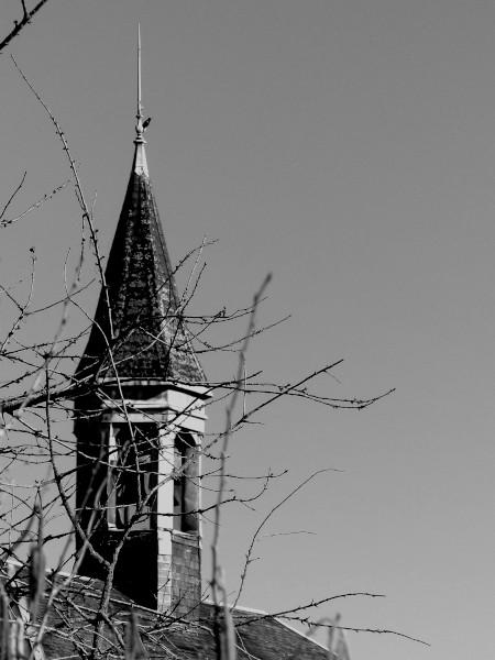 Brissy Hamégicourt - L`oiseau et le clocher (Aisne - 02240) [2019] (Photo de Didier Desmet) Noir et blanc (Clochet de l`ancienne mairie) [Artiste Infirme Moteur Cérébral] [Infirmité Motrice Cérébrale] [IMC] [Paralysie Cérébrale] [Cerebral Palsy] [Handicap]