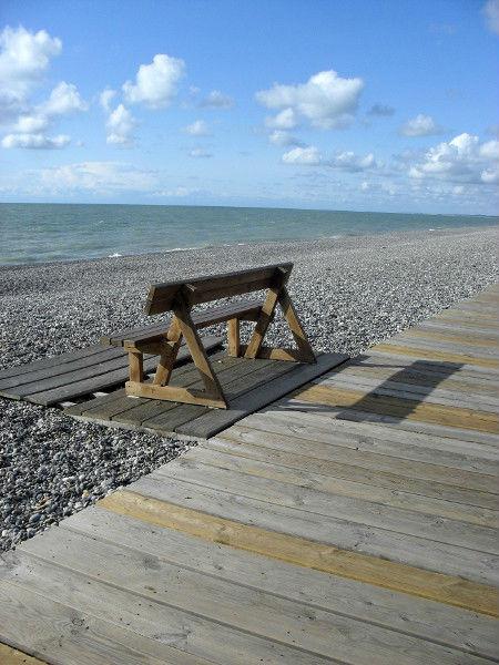 Cayeux-sur-mer (Somme - 80410) [2011] (Photo de Didier Desmet) Banc Juin [Artiste Infirme Moteur Cérébral] [Infirmité Motrice Cérébrale] [IMC] [Paralysie Cérébrale] [Cerebral Palsy] [Handicap]