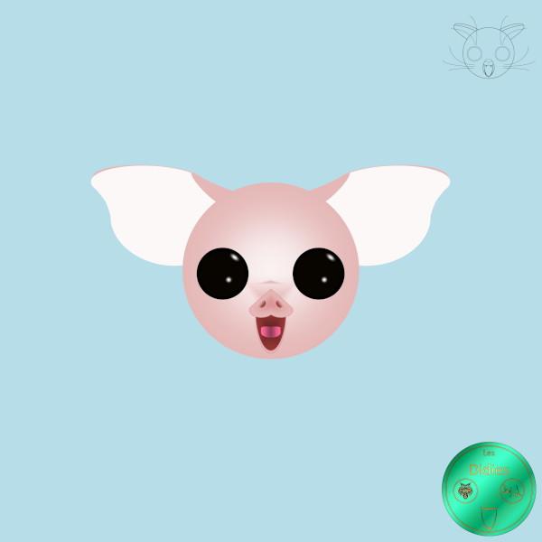 Didies [Animaux] Cochon [2012-2016-2018] (Création et conception graphique de Didier Desmet) [Artiste Infirme Moteur Cérébral] [Infirmité Motrice Cérébrale] [IMC] [Paralysie Cérébrale] [Cerebral Palsy] [Handicap] [Kawaii]