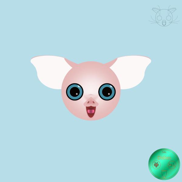 Didies [Animaux] Cochon aux yeux bleus [2016-2018] (Création et conception graphique de Didier Desmet) [Artiste Infirme Moteur Cérébral] [Infirmité Motrice Cérébrale] [IMC] [Paralysie Cérébrale] [Cerebral Palsy] [Handicap] [Kawaii]
