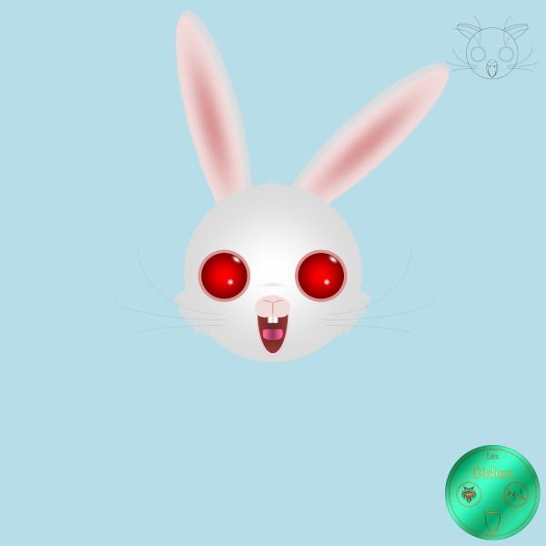 Didies - [Animaux] Lapin blanc albinosse [2018] (Création et conception graphique de Didier Desmet) [Artiste Infirme Moteur Cérébral] [Infirmité Motrice Cérébrale] [IMC] [Paralysie Cérébrale] [Cerebral Palsy] [Handicap] [Kawaii]