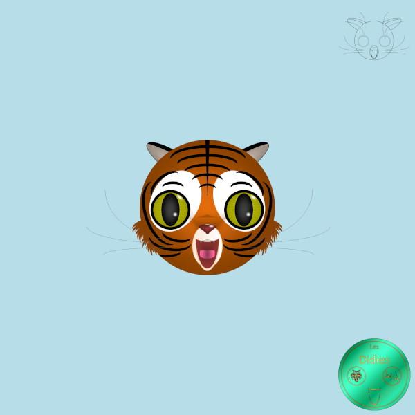 Didies [Animaux] Tigre [2012-2016-2018] (Création et conception graphique de Didier Desmet) [Artiste Infirme Moteur Cérébral] [Infirmité Motrice Cérébrale] [IMC] [Paralysie Cérébrale] [Cerebral Palsy] [Handicap] [Kawaii]