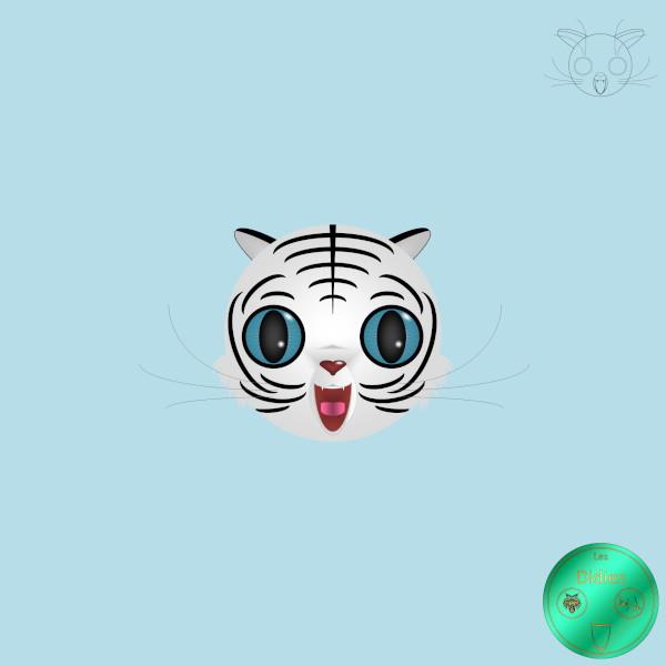 Didies [Animaux] Tigre blanc [2012-2016-2018] (Création et conception graphique de Didier Desmet) [Artiste Infirme Moteur Cérébral] [Infirmité Motrice Cérébrale] [IMC] [Paralysie Cérébrale] [Cerebral Palsy] [Handicap] [Kawaii]