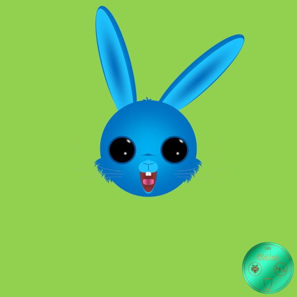 Didies [Fantastique] Lapin de Pâques bleu [2020] (Création et conception graphique de Didier Desmet) [Artiste Infirme Moteur Cérébral] [Infirmité Motrice Cérébrale] [IMC] [Paralysie Cérébrale] [Cerebral Palsy] [Handicap] [Kawaii]