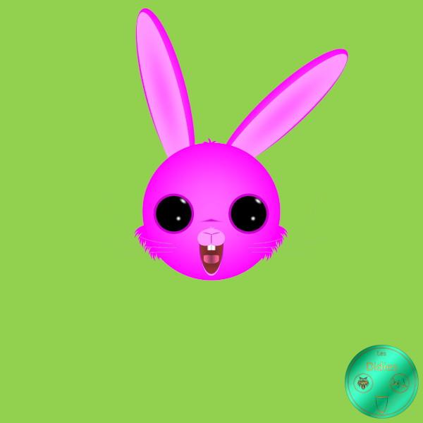 Didies [Fantastique] Lapin de Pâques rose [2020] (Création et conception graphique de Didier Desmet) [Artiste Infirme Moteur Cérébral] [Infirmité Motrice Cérébrale] [IMC] [Paralysie Cérébrale] [Cerebral Palsy] [Handicap] [Kawaii]