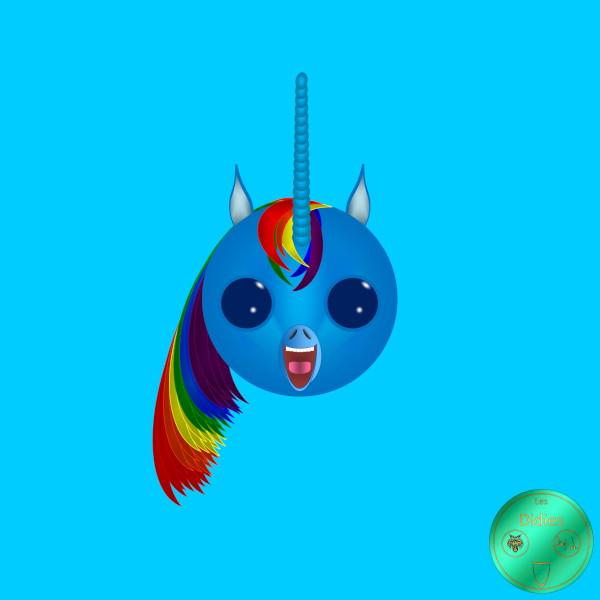 Didies [Fantastique] Licorne Arc-en-ciel bleue [2018] (Création et conception graphique de Didier Desmet) [Artiste Infirme Moteur Cérébral] [Infirmité Motrice Cérébrale] [IMC] [Paralysie Cérébrale] [Cerebral Palsy] [Handicap] [Kawaii]