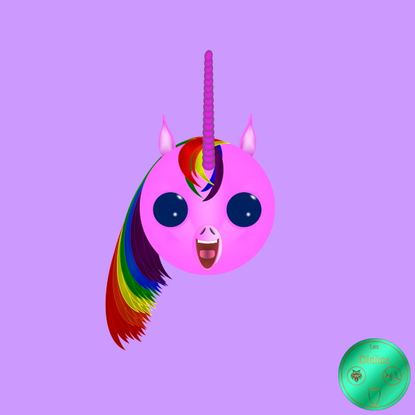 Didies [Fantastique] Licorne Arc-en-ciel rose [2017-2018] (Création et conception graphique de Didier Desmet) [Artiste Infirme Moteur Cérébral] [Infirmité Motrice Cérébrale] [IMC] [Paralysie Cérébrale] [Cerebral Palsy] [Handicap] [Kawaii]
