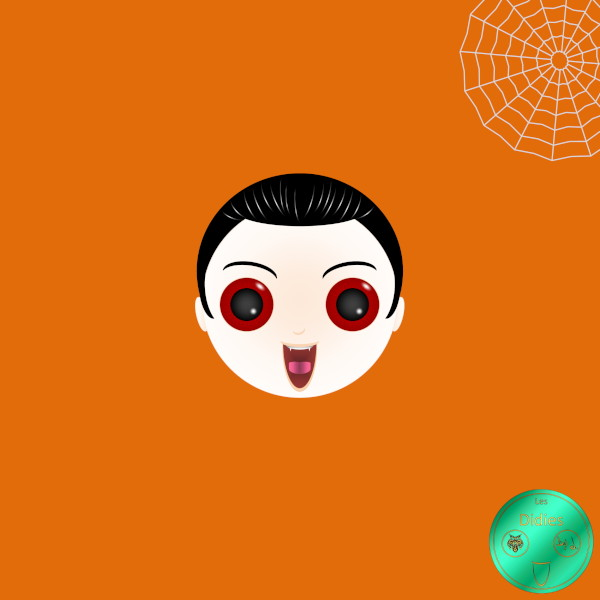 Didies [Halloween] Le vampire [2016-2018] (Création et conception graphique de Didier Desmet) [Artiste Infirme Moteur Cérébral] [Infirmité Motrice Cérébrale] [IMC] [Paralysie Cérébrale] [Cerebral Palsy] [Handicap] [Kawaii]