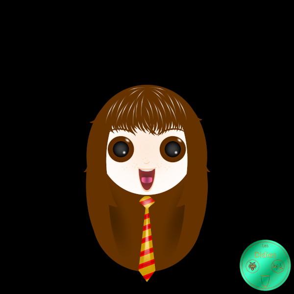 Didies [Harry Potter (8 films), 2001 à 2011 (d'après J. K. Rowling)] Hermione Granger (interprétée par Emma Watson) [2020] (Création et conception graphique de Didier Desmet) [Artiste Infirme Moteur Cérébral] [Infirmité Motrice Cérébrale] [IMC] [Paralysie Cérébrale] [Cerebral Palsy] [Handicap] [Kawaii]