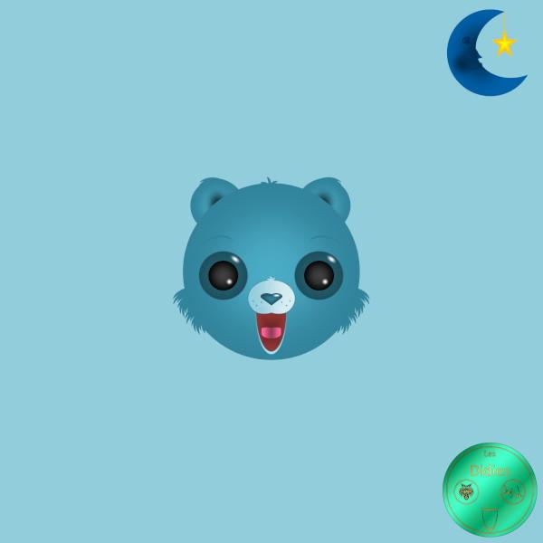 Didies [Les Bisounours (The Care Bears), 1985] GrosDodo (BedTime Bear) [2018] (Création et conception graphique de Didier Desmet) [Artiste Infirme Moteur Cérébral] [Infirmité Motrice Cérébrale] [IMC] [Paralysie Cérébrale] [Cerebral Palsy] [Handicap] [Kawaii]