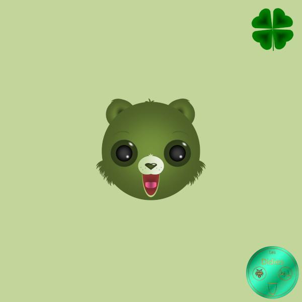Didies [Les Bisounours (The Care Bears), 1985] GrosVeinard (Good Luck Bear) [2018] (Création et conception graphique de Didier Desmet) [Artiste Infirme Moteur Cérébral] [Infirmité Motrice Cérébrale] [IMC] [Paralysie Cérébrale] [Cerebral Palsy] [Handicap] [Kawaii]