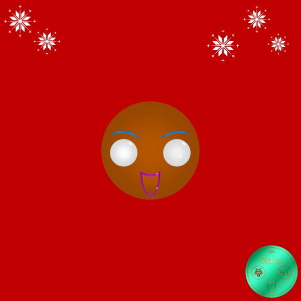 Didies [Noël] Bonhomme Pain d`épices (Ginger Bread) [2017] (Création et conception graphique de Didier Desmet) [Artiste Infirme Moteur Cérébral] [Infirmité Motrice Cérébrale] [IMC] [Paralysie Cérébrale] [Cerebral Palsy] [Handicap] [Kawaii]