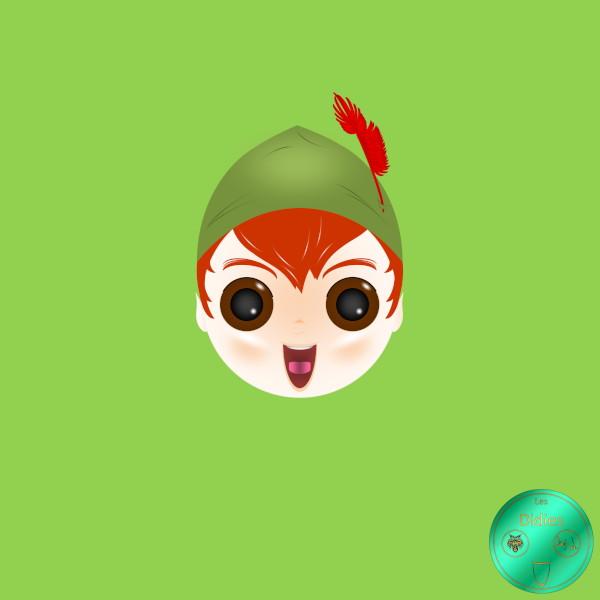 Didies [Peter Pan (adaptation de la pièce créée en 1904 par J. M. Barrie), Walt Disney, 1953] Peter Pan [2020] (Création et conception graphique de Didier Desmet) [Artiste Infirme Moteur Cérébral] [Infirmité Motrice Cérébrale] [IMC] [Paralysie Cérébrale] [Cerebral Palsy] [Handicap] [Kawaii]