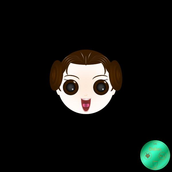 Didies [Star Wars (ou La Guerre des étoiles), depuis 1977] Princesse Leia (Princess Leia) (int.Carrie Fisher) [2016-2018] (Création et conception graphique de Didier Desmet) [Artiste Infirme Moteur Cérébral] [Infirmité Motrice Cérébrale] [IMC] [Paralysie Cérébrale] [Cerebral Palsy] [Handicap] [Kawaii]