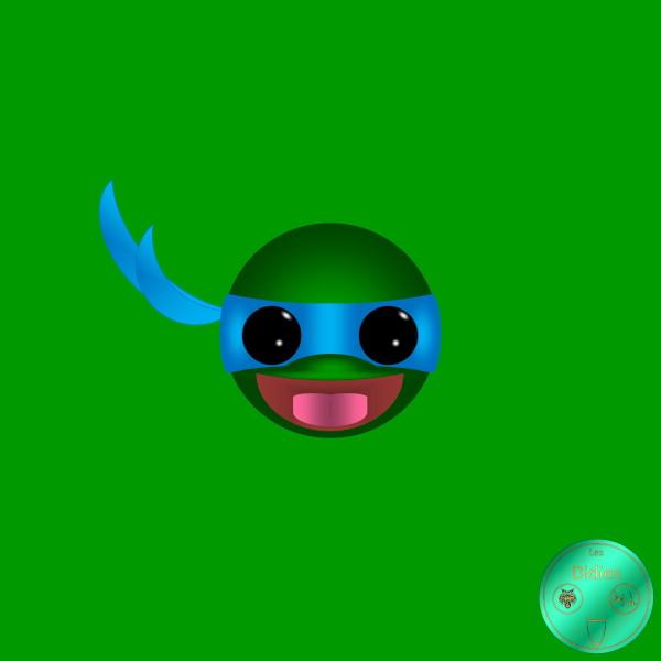 Didies [Tortues Ninjas - Les Chevaliers d`écaille (Teenage Mutant Ninja Turtles), 1987] Leonardo [2018] (Création et conception graphique de Didier Desmet) [Artiste Infirme Moteur Cérébral] [Infirmité Motrice Cérébrale] [IMC] [Paralysie Cérébrale] [Cerebral Palsy] [Handicap] [Kawaii]