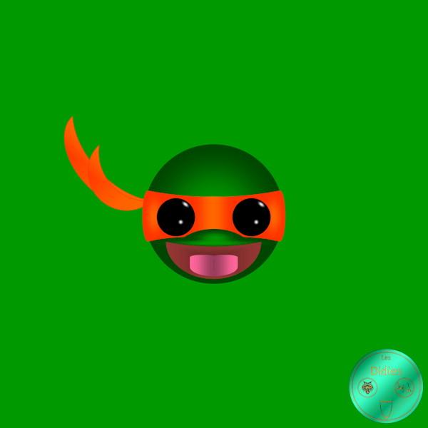 Didies [Tortues Ninjas - Les Chevaliers d`écaille (Teenage Mutant Ninja Turtles), 1987] Michelangelo [2018] (Création et conception graphique de Didier Desmet) [Artiste Infirme Moteur Cérébral] [Infirmité Motrice Cérébrale] [IMC] [Paralysie Cérébrale] [Cerebral Palsy] [Handicap] [Kawaii]
