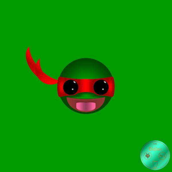Didies [Tortues Ninjas - Les Chevaliers d`écaille (Teenage Mutant Ninja Turtles), 1987] Raphael [2018] (Création et conception graphique de Didier Desmet) [Artiste Infirme Moteur Cérébral] [Infirmité Motrice Cérébrale] [IMC] [Paralysie Cérébrale] [Cerebral Palsy] [Handicap] [Kawaii]