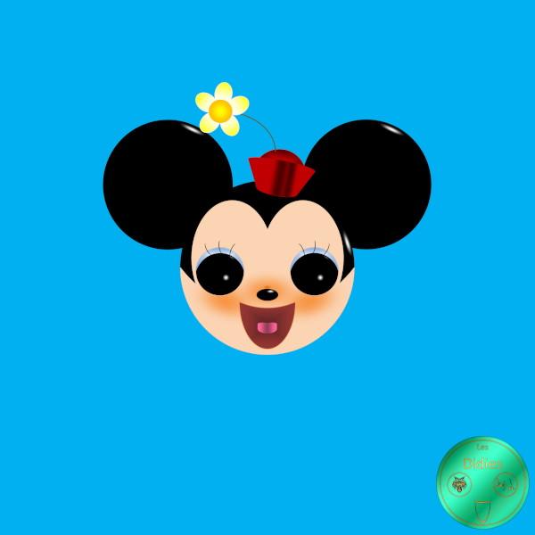Didies [Walt Disney, 1928] Minnie Mouse avec chapeau [2018] (Création et conception graphique de Didier Desmet) [Artiste Infirme Moteur Cérébral] [Infirmité Motrice Cérébrale] [IMC] [Paralysie Cérébrale] [Cerebral Palsy] [Handicap] [Kawaii]