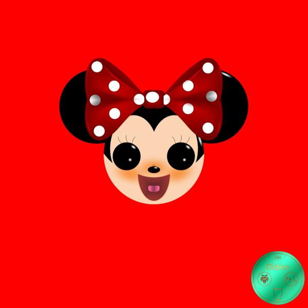 Didies [Walt Disney, 1928] Minnie Mouse avec noeud rouge à pois blancs [2018] (Création et conception graphique de Didier Desmet) [Artiste Infirme Moteur Cérébral] [Infirmité Motrice Cérébrale] [IMC] [Paralysie Cérébrale] [Cerebral Palsy] [Handicap] [Kawaii]