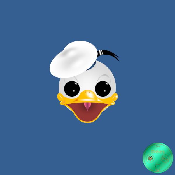 Didies [Walt Disney, 1934] Donald Duck ou Donald Fauntleroy Duck avec bachi blanc [2018] (Création et conception graphique de Didier Desmet) [Artiste Infirme Moteur Cérébral] [Infirmité Motrice Cérébrale] [IMC] [Paralysie Cérébrale] [Cerebral Palsy] [Handicap] [Kawaii]
