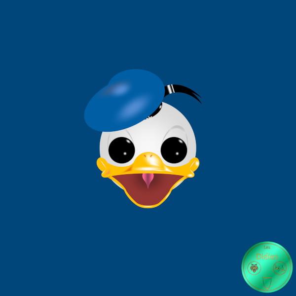 Didies [Walt Disney, 1934] Donald Duck ou Donald Fauntleroy Duck avec bachi bleu [2018] (Création et conception graphique de Didier Desmet) [Artiste Infirme Moteur Cérébral] [Infirmité Motrice Cérébrale] [IMC] [Paralysie Cérébrale] [Cerebral Palsy] [Handicap] [Kawaii]