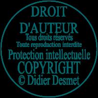 DROIT D`AUTEUR, Tous droits réservés, Toute reproduction est interdite, Protection intellectuelle, COPYRIGHT Didier Desmet