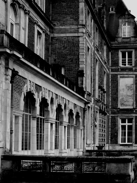 Eu - Château d`Eu (Façade Ouest) (Seine-Maritime - 76260) [2016] (Photo de Didier Desmet) Noir et blanc [Artiste Infirme Moteur Cérébral] [Infirmité Motrice Cérébrale] [IMC] [Paralysie Cérébrale] [Cerebral Palsy] [Handicap]