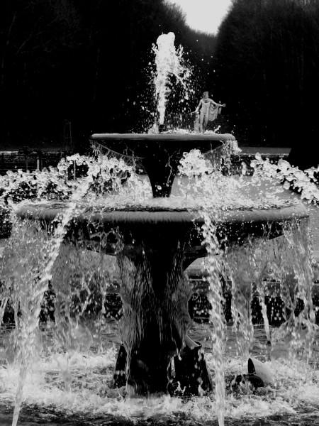 Eu - La fontaine du Château d`Eu - Vue sur Apollon (Seine-Maritime - 76260) [2016] (Photo de Didier Desmet) Noir et blanc [Artiste Infirme Moteur Cérébral] [Infirmité Motrice Cérébrale] [IMC] [Paralysie Cérébrale] [Cerebral Palsy] [Handicap]