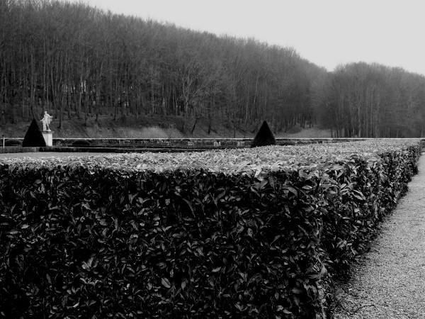 Eu - Le jardin du Château d`Eu - Vue sur Apollon (Seine-Maritime - 76260) [2016] (Photo de Didier Desmet) Noir et blanc [Artiste Infirme Moteur Cérébral] [Infirmité Motrice Cérébrale] [IMC] [Paralysie Cérébrale] [Cerebral Palsy] [Handicap]