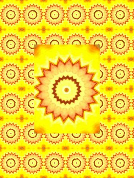 Fleurs-soleil [2012] (Création et conception graphique de Didier Desmet) [Motif] [Pattern] [Motifs] [Patterns] [Artiste Infirme Moteur Cérébral] [Infirmité Motrice Cérébrale] [IMC] [Paralysie Cérébrale] [Cerebral Palsy] [Handicap]