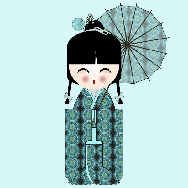 Kokeshi #9 [2012-2015] (Création et conception graphique de Didier Desmet) [Artiste Infirme Moteur Cérébral] [Infirmité Motrice Cérébrale] [IMC] [Paralysie Cérébrale] [Cerebral Palsy] [Handicap] [Kawaii]