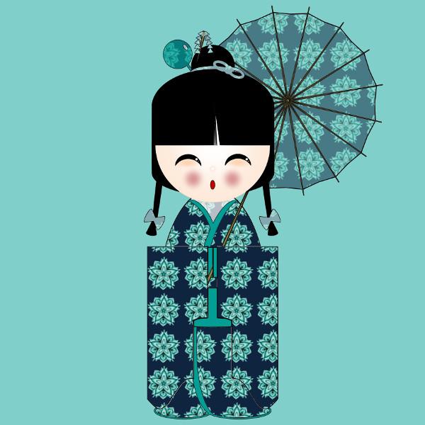 Kokeshi Flowers #6 [2012-2015] (Création et conception graphique de Didier Desmet) [Artiste Infirme Moteur Cérébral] [Infirmité Motrice Cérébrale] [IMC] [Paralysie Cérébrale] [Cerebral Palsy] [Handicap] [Kawaii]