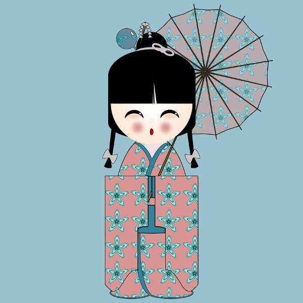 Kokeshi Flowers #8 [2012-2015] (Création et conception graphique de Didier Desmet) [Artiste Infirme Moteur Cérébral] [Infirmité Motrice Cérébrale] [IMC] [Paralysie Cérébrale] [Cerebral Palsy] [Handicap] [Kawaii]